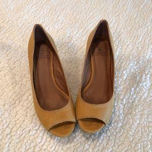 Lucky Brand Shoes - Lucky Brand Cork Wedge Peep Toe Ballet Flat Sandal